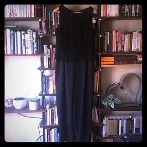 Black jumpsuit with lace overlay